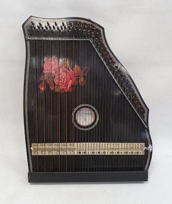 German mandolin zitherin wooden case