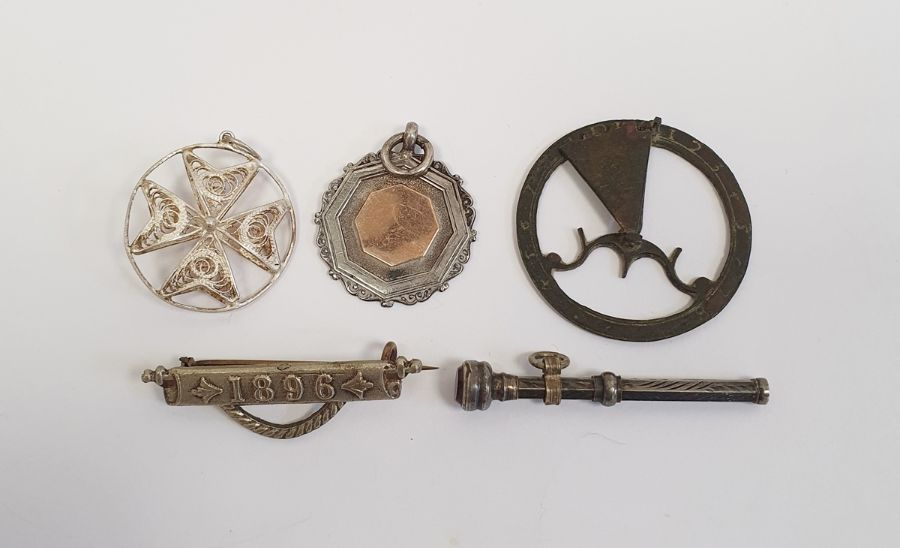 Small brass folding pocket sundial, silver fob, silver propelling pencil and a filigree silver