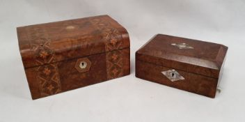 A walnut and parquetry inlaid work box and one further walnut and mother of pearl inlaid box (2)