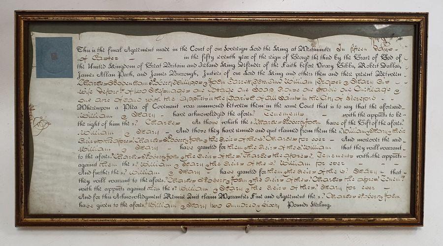 George III indenturein glazed frame