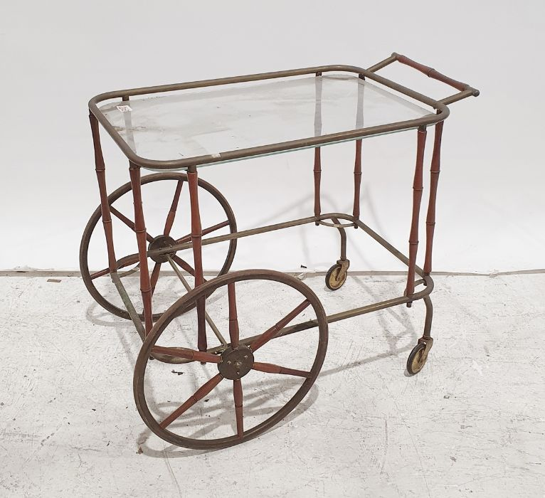Mid-century brass and glass and turned wood hostess trolleyCondition Report Discolouration and