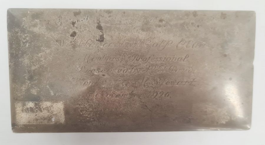 1920's rectangular silver-mounted box, engraved to lid 'West Lancashire Golf Club Members - Image 2 of 5