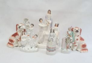 Staffordshire pottery flatback groupof a man and woman on either side of a lady on a pedestal,