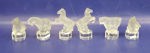 Six glass models of animals, each frosted with clear glass bases, comprising a pair of Goebel