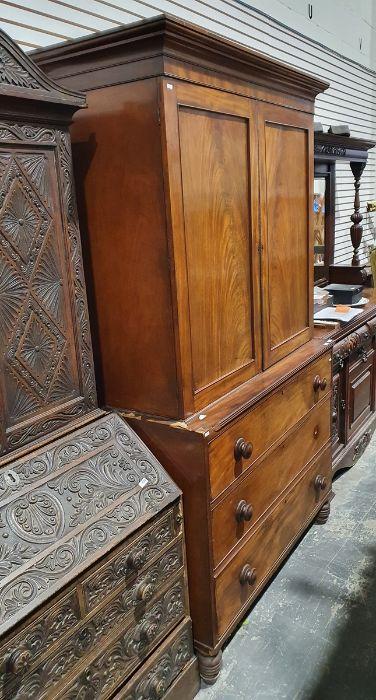 19th century mahogany linen press, two flame mahogany doors enclosing linen press drawers, base - Image 2 of 21