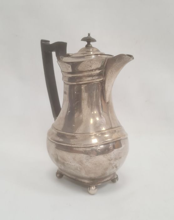 1930's silver coffee potwith ebony handle and finial, on bun feet, Sheffield 1932, maker James - Image 2 of 3
