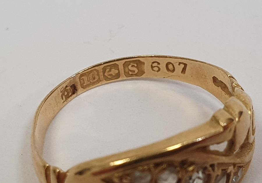 18ct gold five-stone diamond ring, scroll engraved set with five tiny diamonds, 1.5g and an 18ct - Image 3 of 3