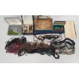 Quantity of costume jewellery, necklaces, brooches, watches etc (1 box)