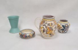 Poole pottery jugin grey, yellow and orange, a vase, a bowl and a Langley pottery vasein turquoise