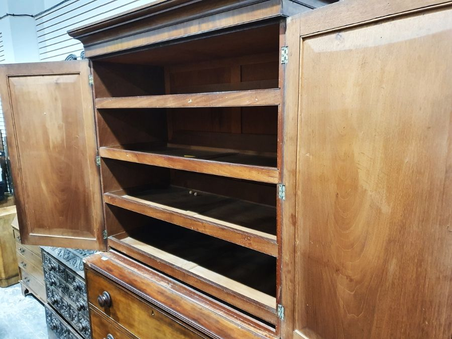19th century mahogany linen press, two flame mahogany doors enclosing linen press drawers, base - Image 3 of 21