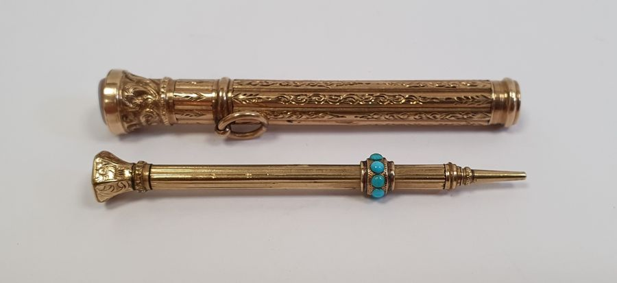 Two gold-coloured propelling pencils, one set with bloodstone and turquoise, the other with