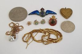 9ct gold flat chain necklace (damaged), 7g approx., a silver and enamel RAF badge, a gold-coloured