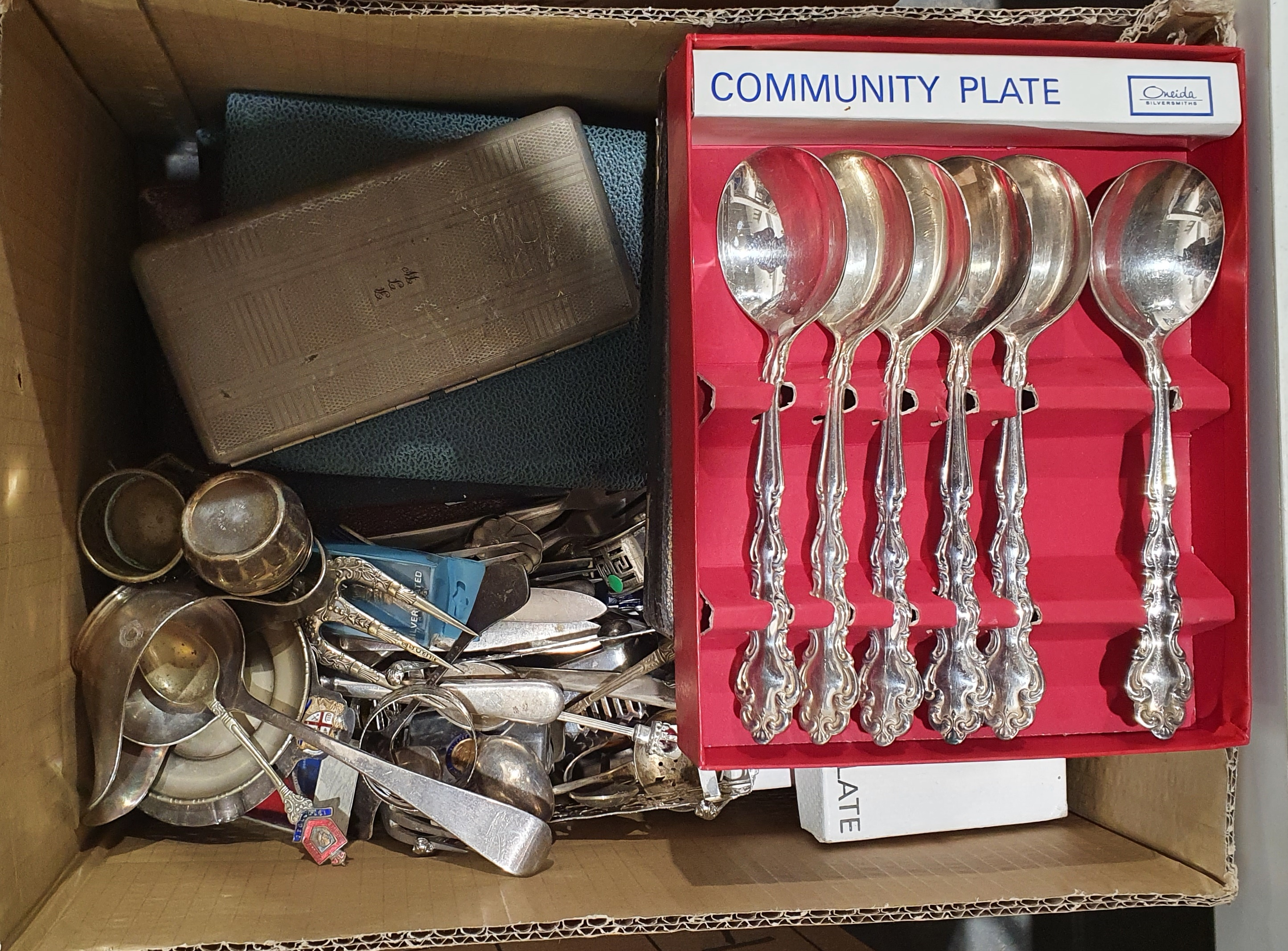 Large quantity of assorted plated ware, teapots, sifters, flatware, etc (2 boxes) - Image 3 of 3