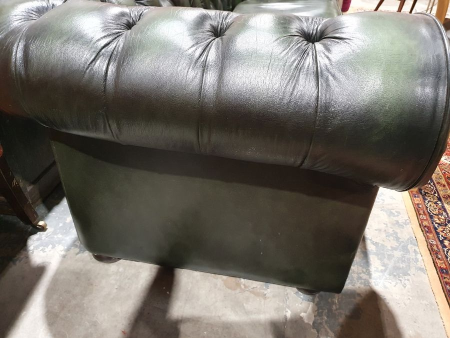 Modern green ground button-back Chesterfield sofa by Thomas LloydCondition ReportGood overall - Image 6 of 10
