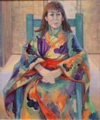 """Lily Gibson (20th century school) Oil on board """"Kimi"""", signed lower left, 59.5cm x 49.5cm"""