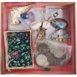 Timex and Ingersoll lady's wristwatch, silver cross pendant, assorted coins, beaded necklace etc (