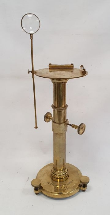 De Grave Short & Co Ltd makers, London, adjustable brass stand fitted with spirit levels, 33cm high