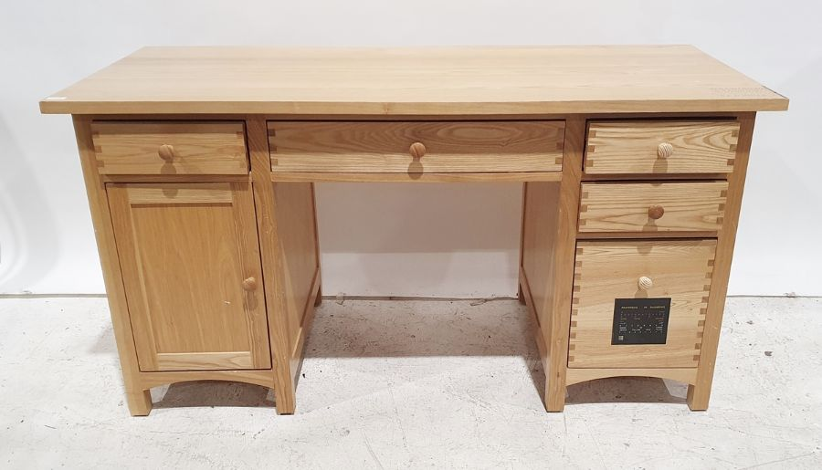 Modern oak desk, assorted drawers and cupboard doors, 144cm wideCondition Report Approx. H75.5cm x