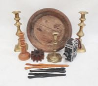 Turned wooden bowl, a pair of brass candlesticks, glove stretchers, etc