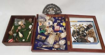 Mixed lot of collectables to include miniature buttons, silk cigarette cards, silver plated