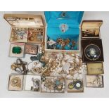 Quantity of costume jewellery, brooches, clip on earrings, cufflinks, necklaces etc (1 box)