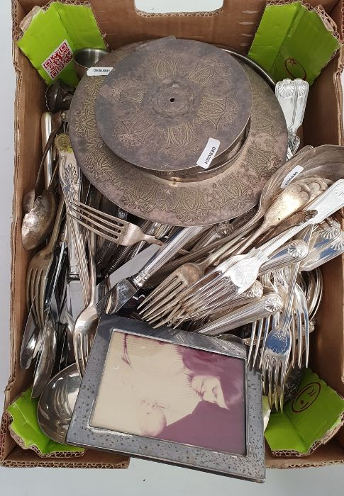 Quantity plated flatware,picture frame,two pots, ladle,dressing table sets, asmall quantity of - Image 3 of 4