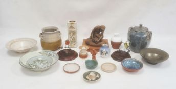 Royal Copenhagen vasedecorated with blackberries, 11cm high, a Conderton pottery jar and coverby