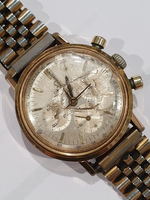 Omega Seamaster gentleman's gold-plated chronograph bracelet watch, the silvered dial with baton - Image 8 of 8