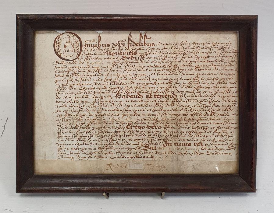 Indenturedated 1614, in glazed frame