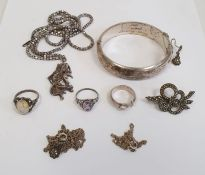 Silver bangle initialled, silver amethyst ring, silver brooch and other silver and coloured