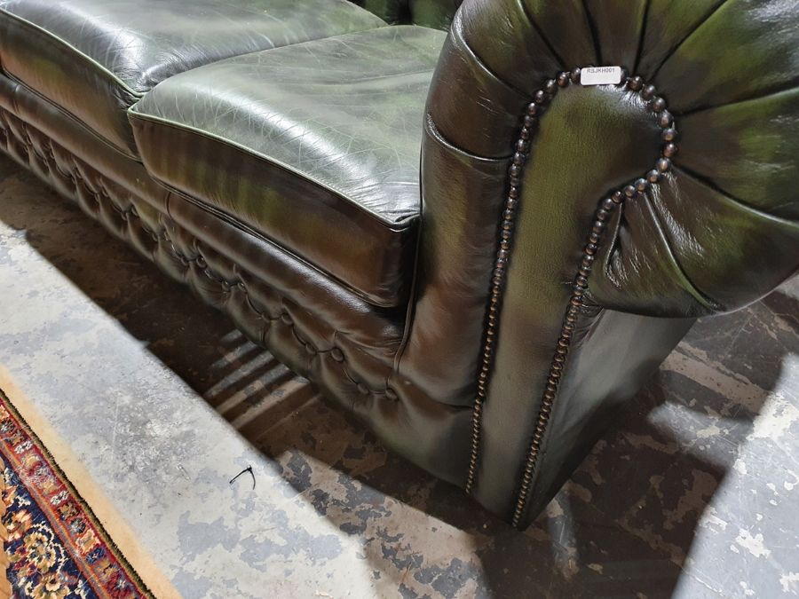 Modern green ground button-back Chesterfield sofa by Thomas LloydCondition ReportGood overall - Image 9 of 10