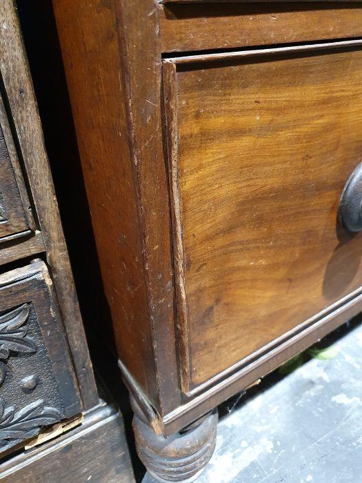 19th century mahogany linen press, two flame mahogany doors enclosing linen press drawers, base - Image 16 of 21
