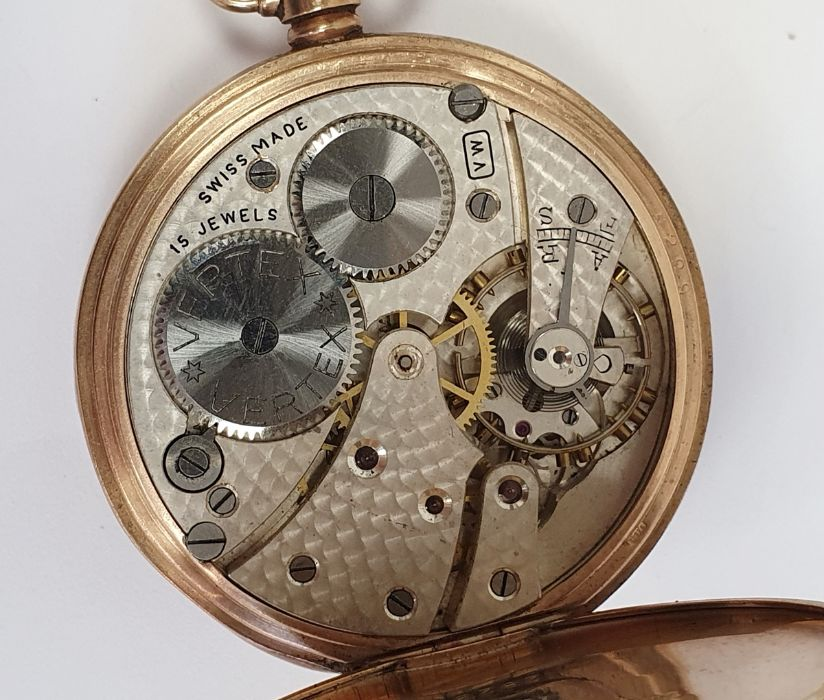 9ct gold Vertex open faced pocket watch, with subsidiary dial, inscribed to the inside ' Presented - Image 6 of 6