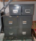 Set of three various metal filing drawers