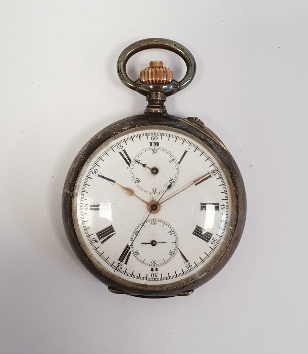 Swiss silver keyless open face calendarpocket watch with white enamel dial Roman numerals, two