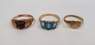 WITHDRAWN - 9ct gold and turquoise three stone set ring, 2g approx.,a 9ct gold heart-shaped engraved