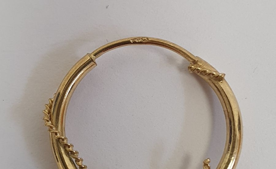 A Charles Murat gold coloured metal heavy chain link bracelet, a pair of 9ct gold hoop earrings, - Image 3 of 3