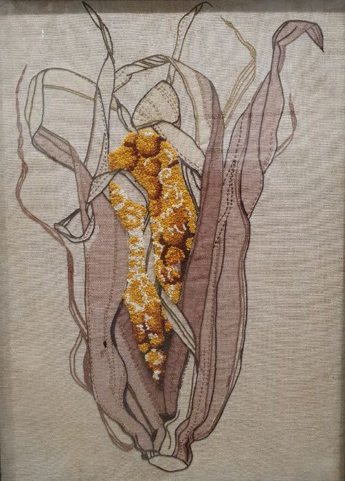 Textile wall hanging picture of corn on the cob, 74cm x 54cm