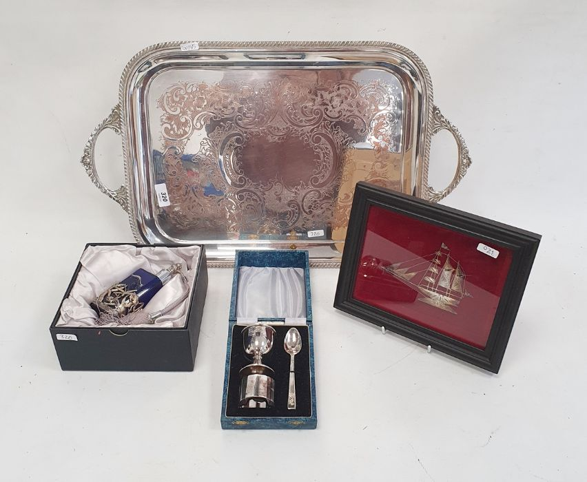EPNS cased eggcup, napkin ring and spoon, a scent bottle, a two-handled tray, etc