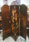 Victorian four-fold draught screen painted with still life floral study, on a brown ground