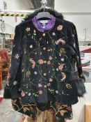 Lady's velvet jacket by Indigo Moon with embroidered bird and flower decoration, another tapestry