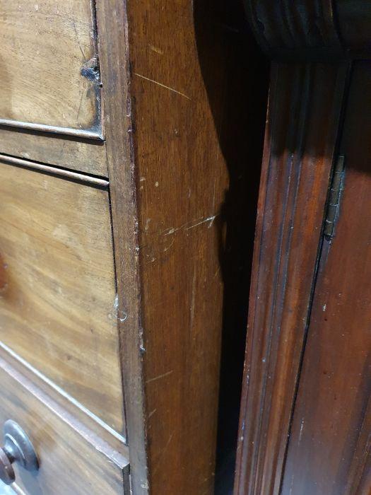 19th century mahogany linen press, two flame mahogany doors enclosing linen press drawers, base - Image 13 of 21