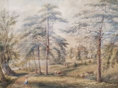 19th century English school Pair of watercolours Country house with cattle and figures, unsigned,