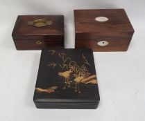 Three assorted boxes to include a 19th century rosewood and mother of pearl inlaid box, Japanese