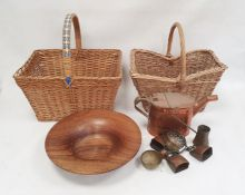 Copper watering can, two baskets, a turned wooden bowl, a microscope and accessoriesin case and