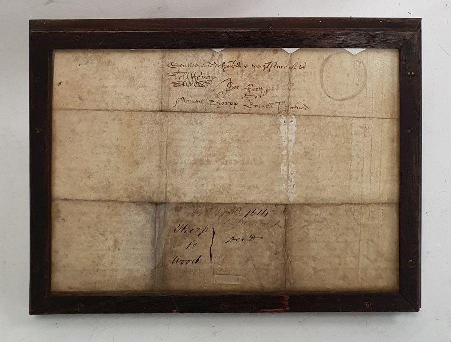 Indenturedated 1614, in glazed frame - Image 2 of 2