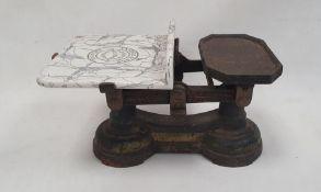 Set of vintage grocer's scales by Yandell & Sons, Stapleton Road, Bristol