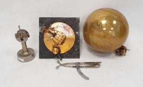 Novelty cigar cutter in the form of a ship's telegraph, a GriffinLondon telescope measure for