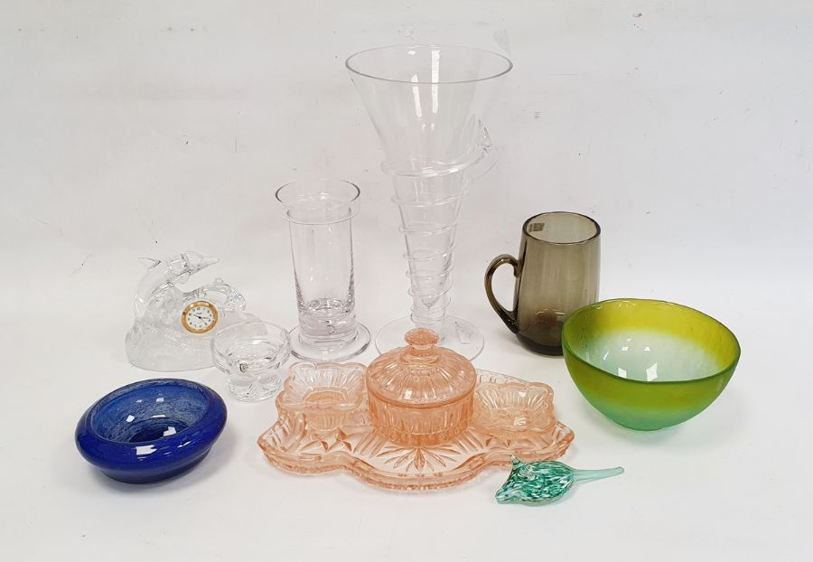 Sowerby glass Art Deco dressing table set, a Whitefriars jug, two Dartington candleholders by