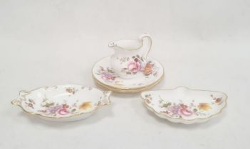 Pair of Royal Crown Derby 'Derby Posies' pattern pin dishes, a jug in the same pattern, a pin dish